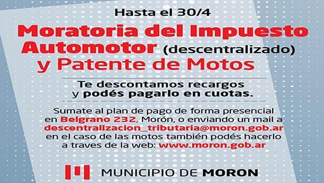 Moratoria del Impuesto Automotor Descentralizado y Patente de Motos